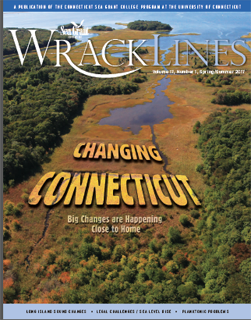 "Cover of Wrack Lines Spring/Summer 2017 shows aerial view of the coast with the words ""Changing Connecticut: Big Changes are happening close to home""."