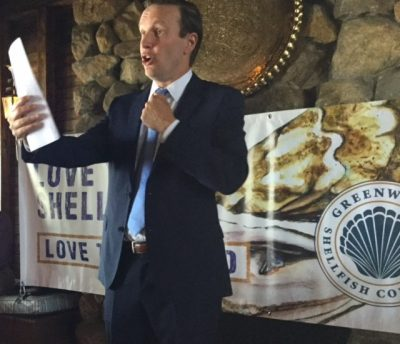Sen. Chirs Murphy speaks to audience in Greenwich on Aug. 24 about Long Island Sound funding.