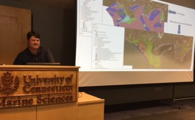 Kevin O'Brien shows maps of proposed NERR areas at meeting on Aug. 17, 2017, at UConn Avery Point.
