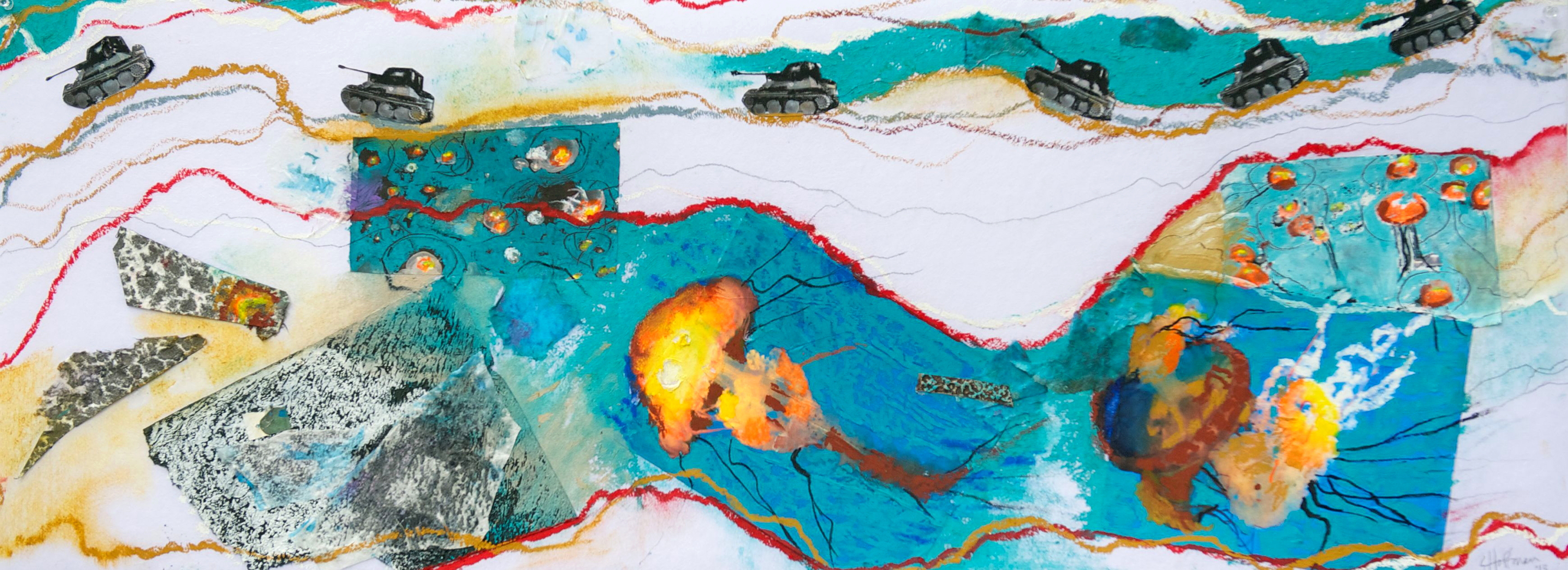 """Water Wars #2"" mixed media work by Susan Hoffman Fishman, courtesy of the artist."