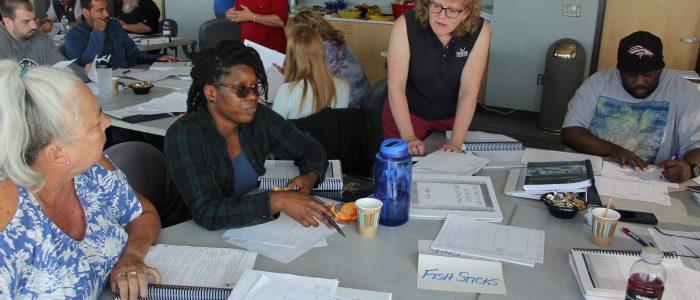 Associate Director Nancy Balcom teaches a food safety class for seafood handlers Sept. 12-14.