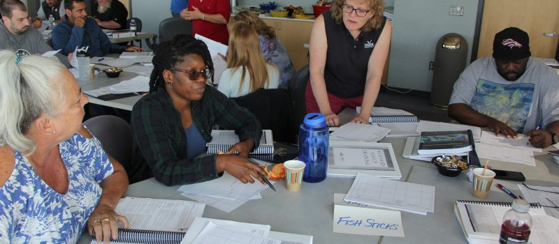Associate Director Nancy Balcom teaches a food safety class for seafood handlers Sept. 12-14.