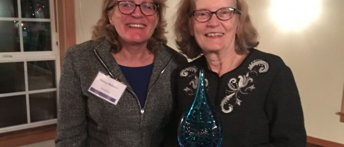 "Recently retired CT Sea Grant Communications Director Margaret ""Peg"" Van Patten, right , receives Communications Service Award at National Sea Grant extension and communications leaders biennial meeting in Astoria, OR, Oct. 4-6. Next to her is Associate Director Nancy Balcom."