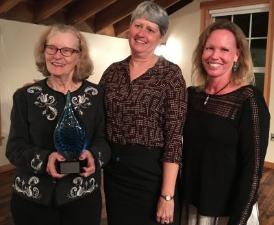"""Margaret """"Peg"""" Van Patten, left, received the Communications Service Award on Oct. 12. With her are Moira Harrington, center, chair of the Sea Grant Communications Network and assistant director for communications for Wisconsin Sea Grant, and Cindy Knapman, communications leader for Hawaii Sea Grant."""