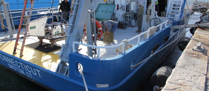 A key resource available to CT Sea Grant researchers at UConn's Avery Point campus, the R/V Connecticut is readied for a 24-hour Long Island Sound mapping cruise on Nov.28, the first research trip since the vessel was expanded by 14.5 feet.