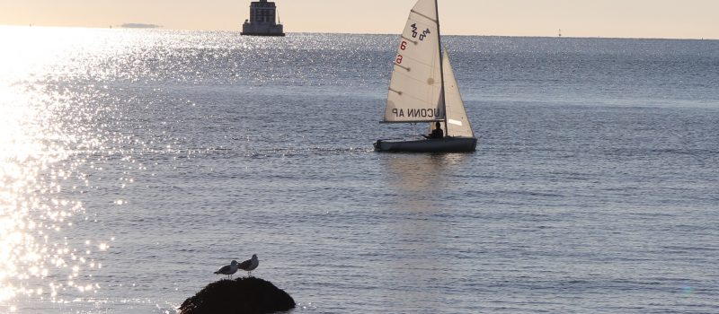 Solstice sailing: A sailboat passes by Ledge Light on Dec. 21 offshore from the UConn Avery Point campus, where Sea Grant is based.