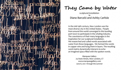 An invitation to the opening of the exhibit at the Marquee Gallery in New London shows a closeup of a section of the sculptural installation by Diane Barcelo and Ashby Carlisle.