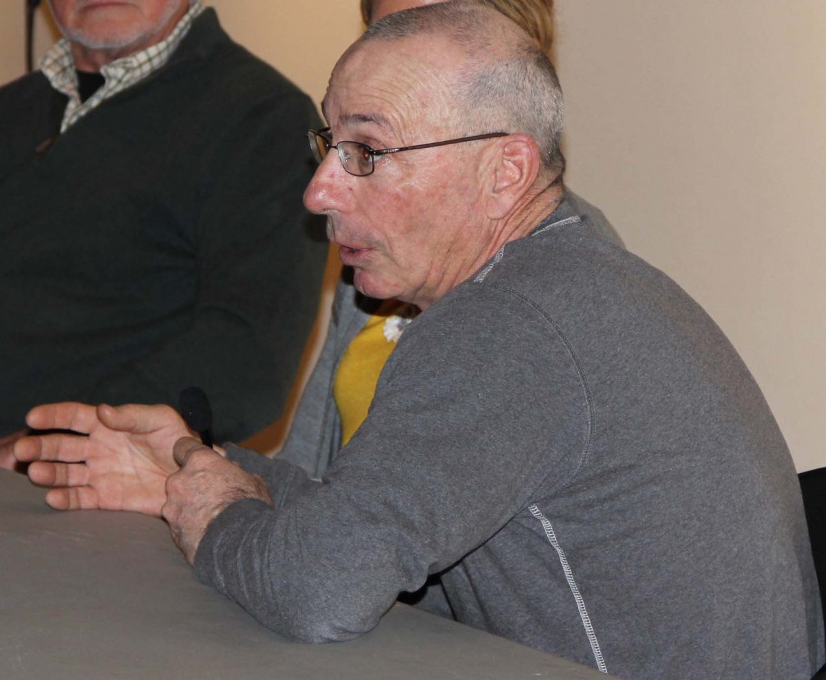 Steve Plant of Connecticut Cultured Oysters answers a question about shellfish aquaculture during a presentation at the La Grua Center in Stonington on Jan. 29.