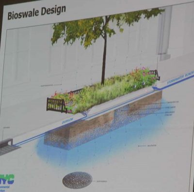 An illustration of a bioswale is shown during one of the presentations.