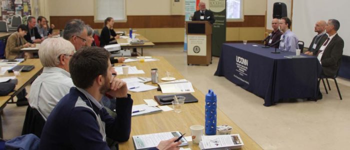 Panelists answer questions about using low-impact development practices to control stormwater in a March 22 UConn Climate Adaptation Academy symposium.
