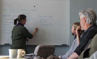 Juliana Barrett of CT Sea Grant leads a small-group discussion during the coastal ocean acidification workshop.