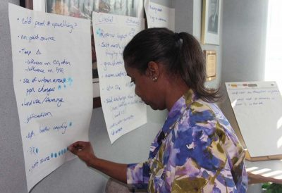 Antoinette Clemetson of New York Sea Grant / Cornell Cooperative Extension chooses priorities for outreach messages during an exercise at the Coastal Ocean Acidification workshop.