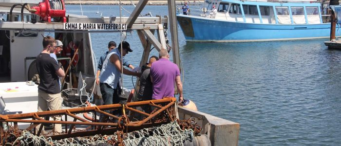 Commercial fishermen take part in training to become certified drill conductors who run on-board safety drills. The fishing vessel Emma & Maria was used for the training.