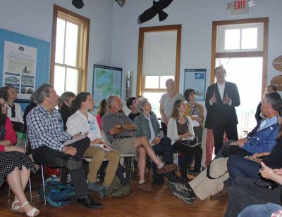 "Sen. Chris Murphy describes the ""Living Shorelines Act"" legislation to a group at the Connecticut River Museum on June 15."