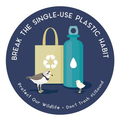 """Break the Single-Use Plastic Habit: Protect Our Wildlife"" sticker with images of a piping plover and reusable bag and water bottle."