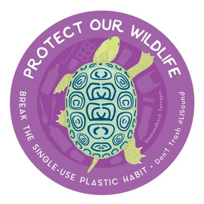 """Protect Our Wildlife: Break the Single-Use Plastic Habit"" terrapin sticker"