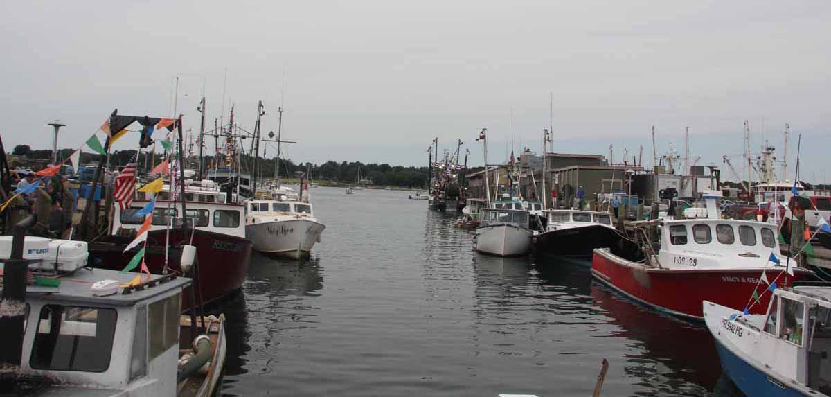 The Stonington fishing fleet was tied up at the town dock for the Blessing of the Fleet Mass, parade and ceremonies.