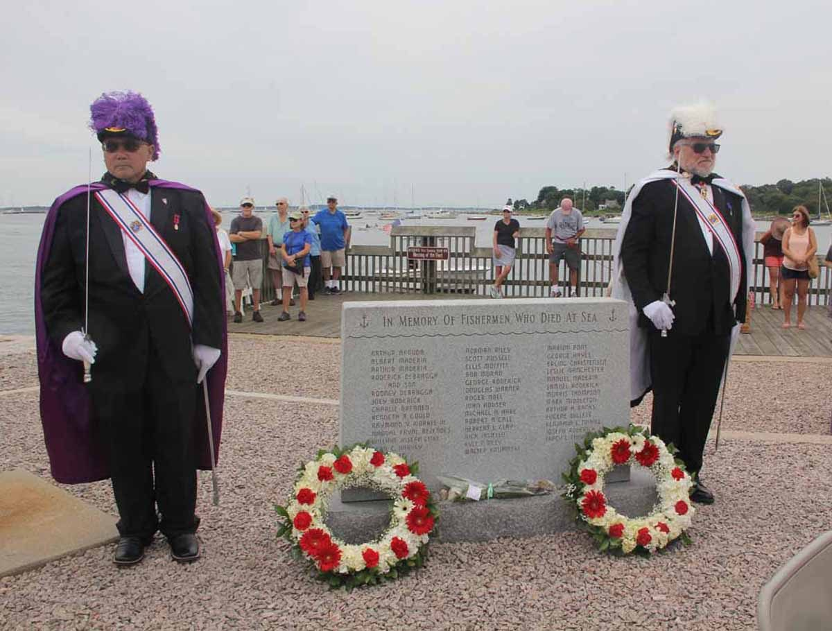 After the parade, wreaths were laid at the memorial to fishermen who died at sea.