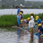 Mystic Aquarium summer campers search for trash along the shoreline at Bluff Point State Park.