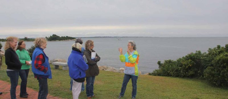 Judy Preston, Long Island Sound outreach coordinator for Sea Grant, talks about the Long Island Sound estuary during a habitat walk with members of the Connecticut Plein Air Painters Society on Sept. 9.