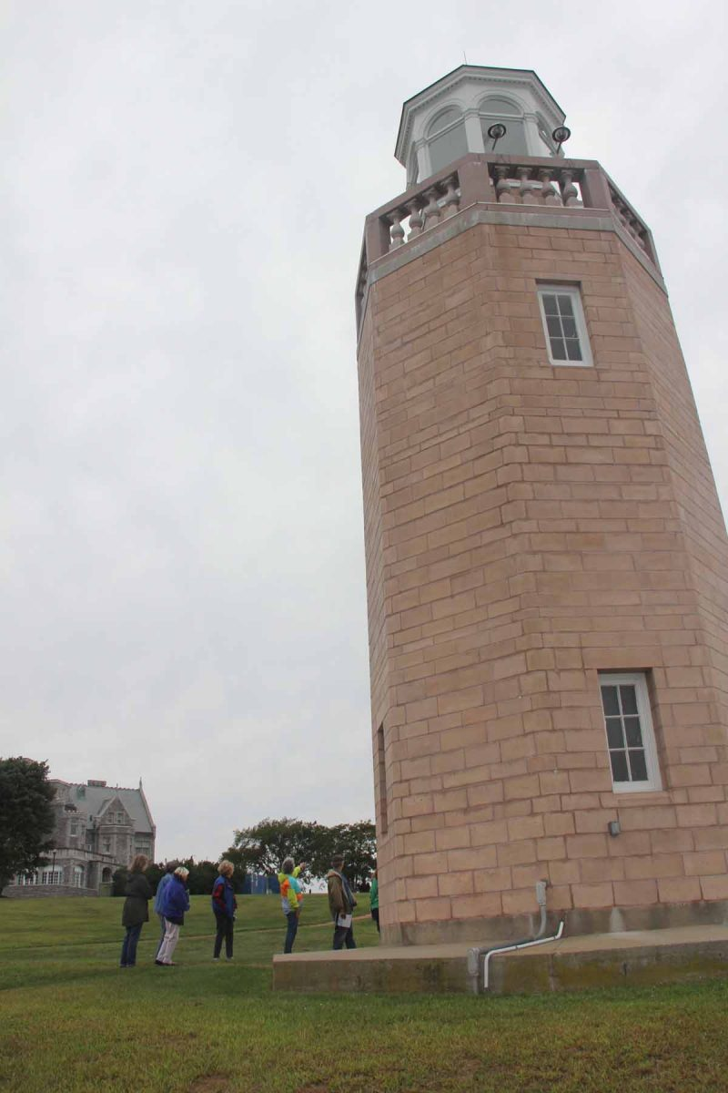 Judy Preston shared information about the history of the Avery Point campus, including the lighthouse, during the habitat walk.