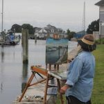 Shauna Shane of Storrs painted a scene of the Shennecossett Yacht Club and the docks at Avery Point.