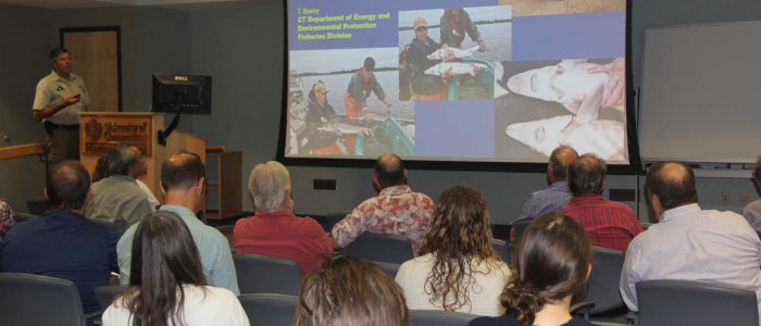 Tom Savoy of the Connecticut Department of Energy and Environmental Protection talks about his research on sturgeon during CTSG's 30th Anniversary Research Forum.