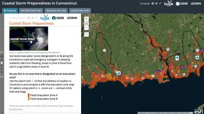 Screen shot of page from Coastal Storm Preparedness Story Map for Connecticut