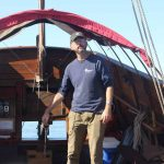 Onrust Captain Dan Thompson steered the ship from Essex to the I-95 highway bridge in Old Lyme.