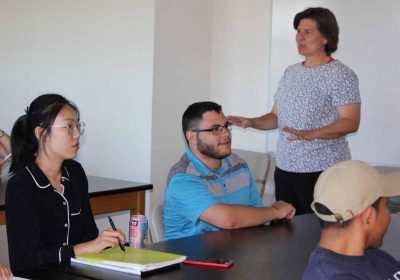 Juliana Barrett teaches the Climate Corps class at the University of Connecticut's Storrs campus. Judy Benson / Connecticut Sea Grant