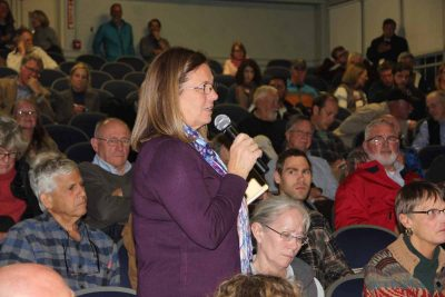 "Old Lyme First Selectwoman Bonnie Reemsnyder speaks in favor of the NERR application during a public meeting on Nov. 13. ""This designation will be great for our area,"" she said. ""It will give a lot of focus and demonstrate how important this area is."""