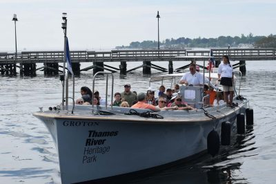 The Thames River Heritage Park water taxis were filled with passengers participating in the Quest hikes on Connecticut Trails Day in June.