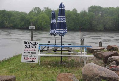 Hale's Shad is located on the Connecticut River near the Rocky Hill Ferry. Fisherman Dan Russell also keeps his boat nearby. Judy Benson / Connecticut Sea Grant