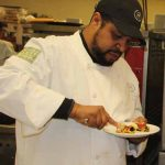 Lydell Carter, sous-chef at the Sheraton, liked the texture and flavor of kelp in the dishes prepared by Trombetta.