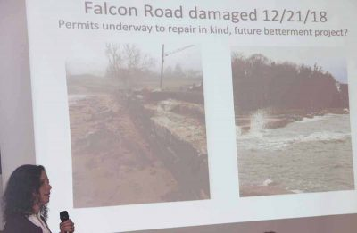 Guilford Town Engineer Janice Plaziak showed examples of flooding roads in her town.