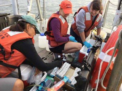 Prof. Penny Vlahos, left, hands a water sample to student researchers Allison Byrd, center, and Allie Staniec during a 2017 project analyzing the carbon balances in Long Island Sound.