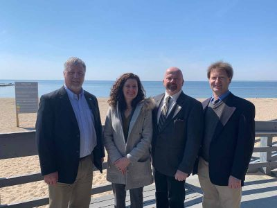 Left to right, Connecticut Sea Grant Director Sylvain De Guise, DEEP Commissioner Katie Dykes, state Rep. Joseph Gresko of Stratford and Nathan Frohling of the Nature Conservancy spoke at the event announcing release of the Blue Plan draft at Hammonasset Beach State Park.