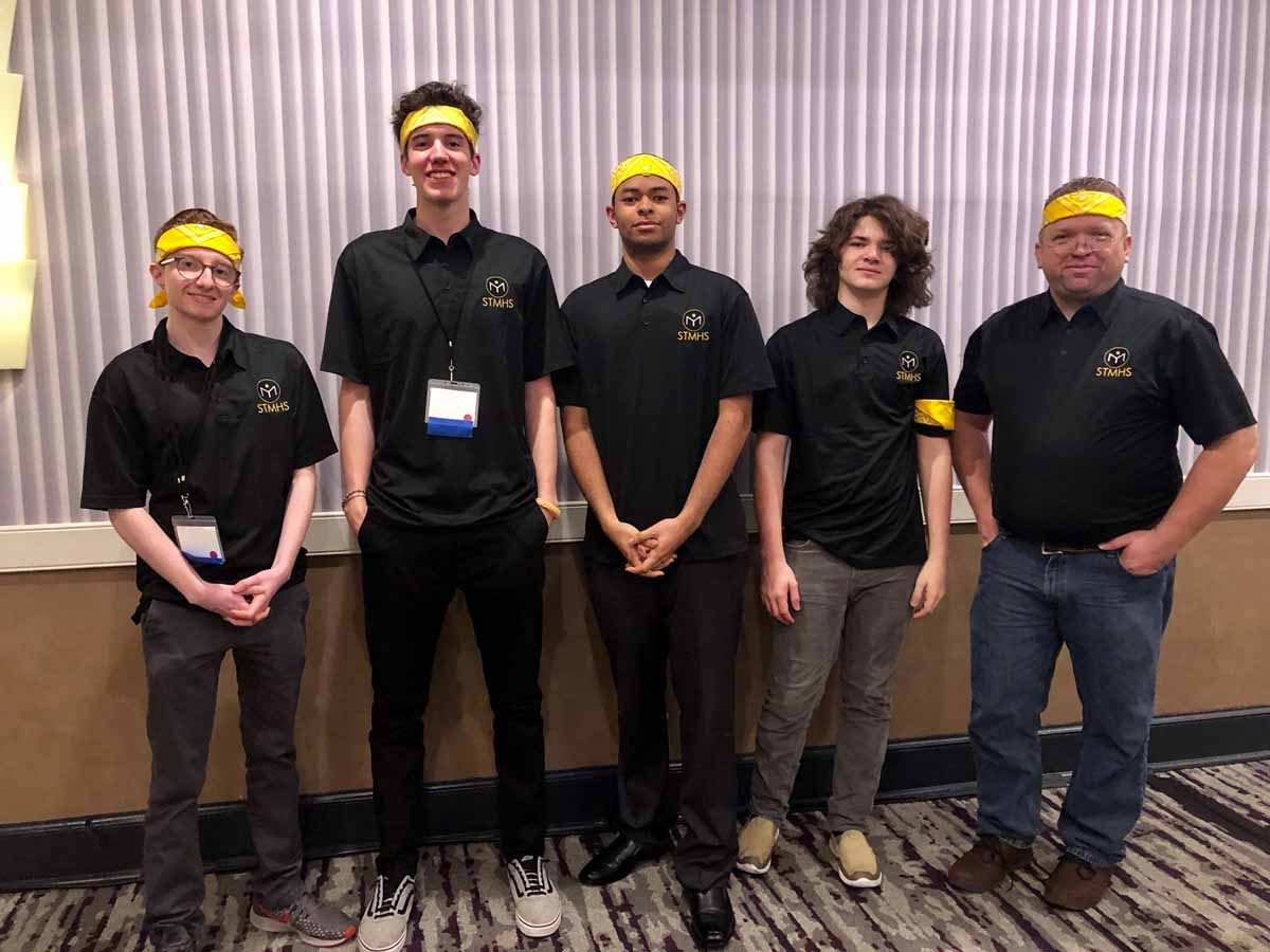 The Science and Technology Magnet High School team at the National Ocean Sciences Bowl, left to right, was comprised of Aidan Desjardins, Derek Raymond, Christopher Bowens, Alex Matthews and Coach Charles Mulligan.