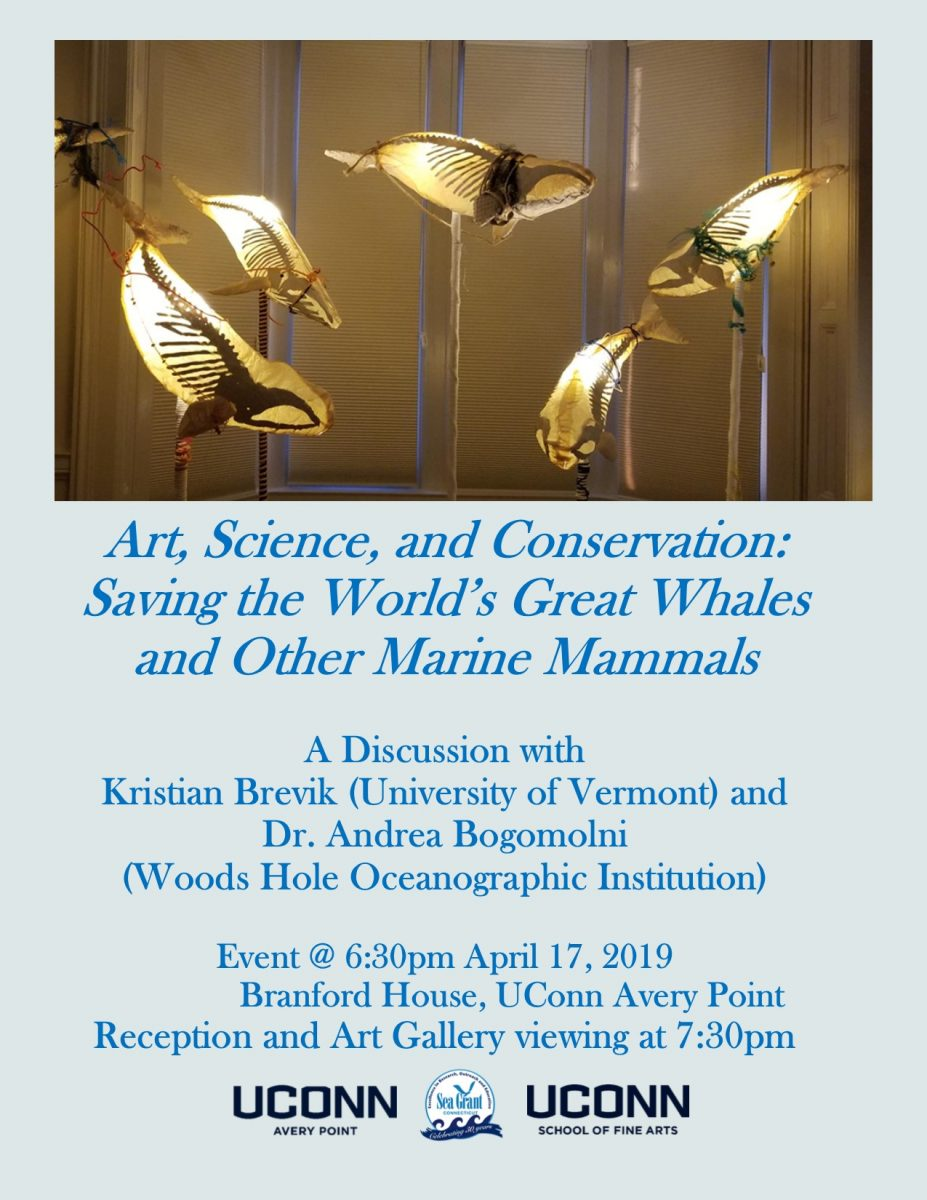 "Flyer for ""Art, Science and Conservation: Saving the World's Great Whales and Other Marine Mammals"" talk at UConn Avery Point on April 17."