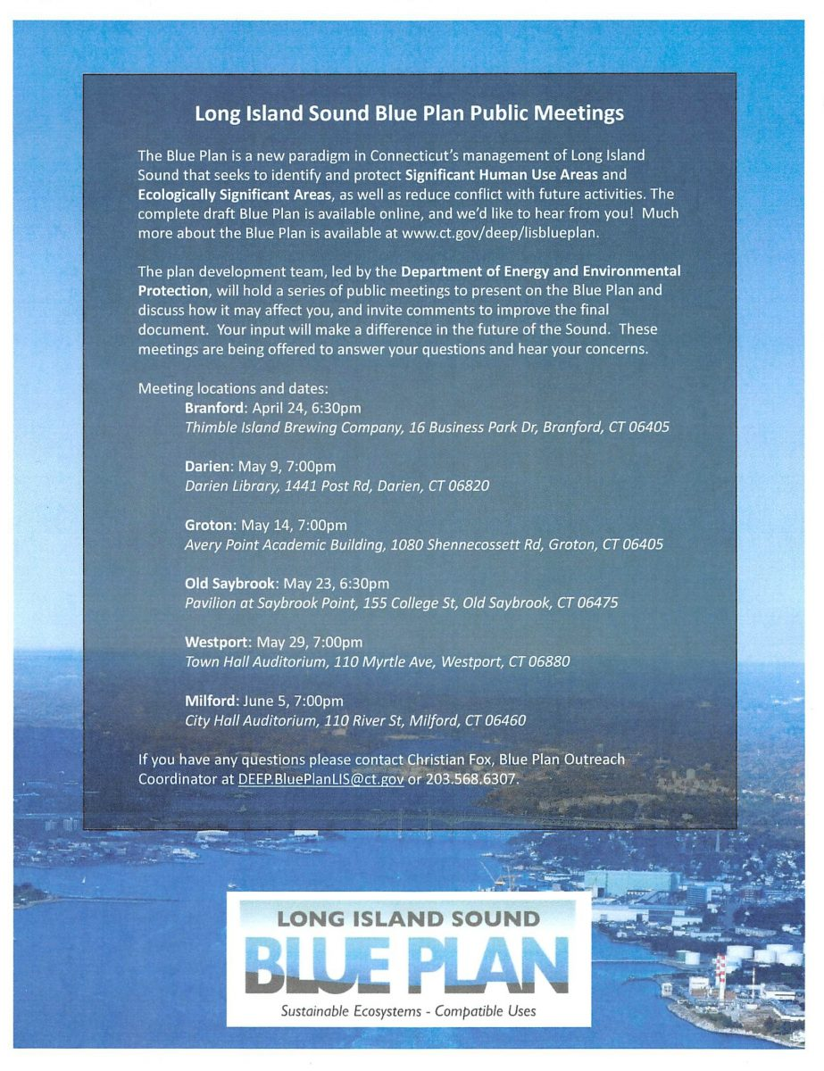 Flyer for Long Island Sound Blue Plan public meetings