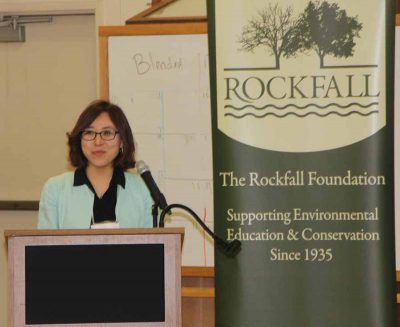 "UConn Prof. Sohyun Park delivers a talk titled, ""Green Infrastructure Isn't Just for Stormwater Management"" during the Climate Adaptation Academy/Rockfall Symposium."