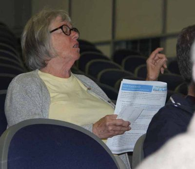 Rosemary Louden asks how the Blue Plan would impact the commercial shellfish beds she and her husband Jay lease in Greenwich.