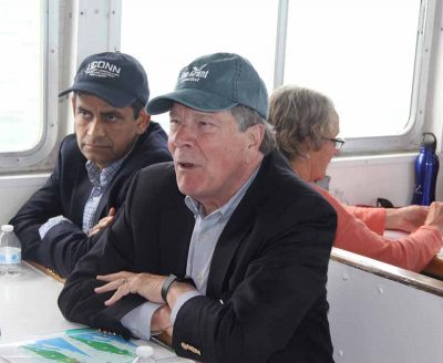 Indrajeet Chauby, left, dean and director of the UConn College of Agriculture, Health and Natural Resources, and UConn Provost John Elliot were among passengers on the vessel.
