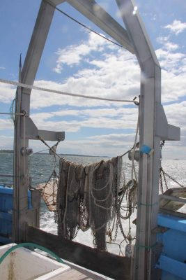 Nets used for trawl samplings during Project Oceanology trips for school groups hung on the bow as the vessel traversed the eastern end of Long Island Sound.