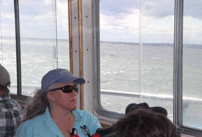 Marine science Prof. Jamie Vaudrey spoke about her research in Little Narragansett Bay and other coves and embayments in the Sound.