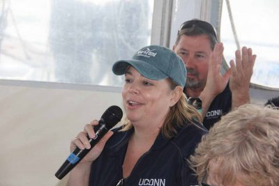Avery Point campus Director Annemarie Seifert made brief remarks at the start of the trip.