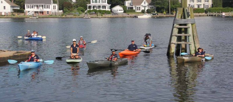 Sea Grant dayak fleet takes to the Mystic River on July 3 to test out a new aquaculture eco-tour being developed in partnership with Adventure Mystic, Mystic Oysters & Connecticut Cultured Oysters.