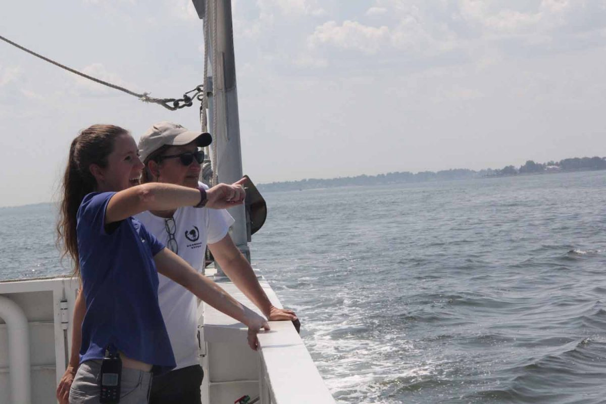 Devon Forest, left, educator at the Maritime Aquarium, points out one of the features in Norwalk harbor to Sacred Heart University Prof. Jennifer Mattei, one of the speakers for the workshop.