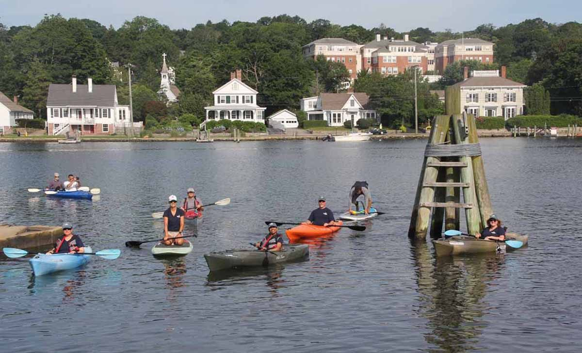 CT Sea Grant staff head out for a pilot run of the aquaculture eco-tour on the Mystic River in July.