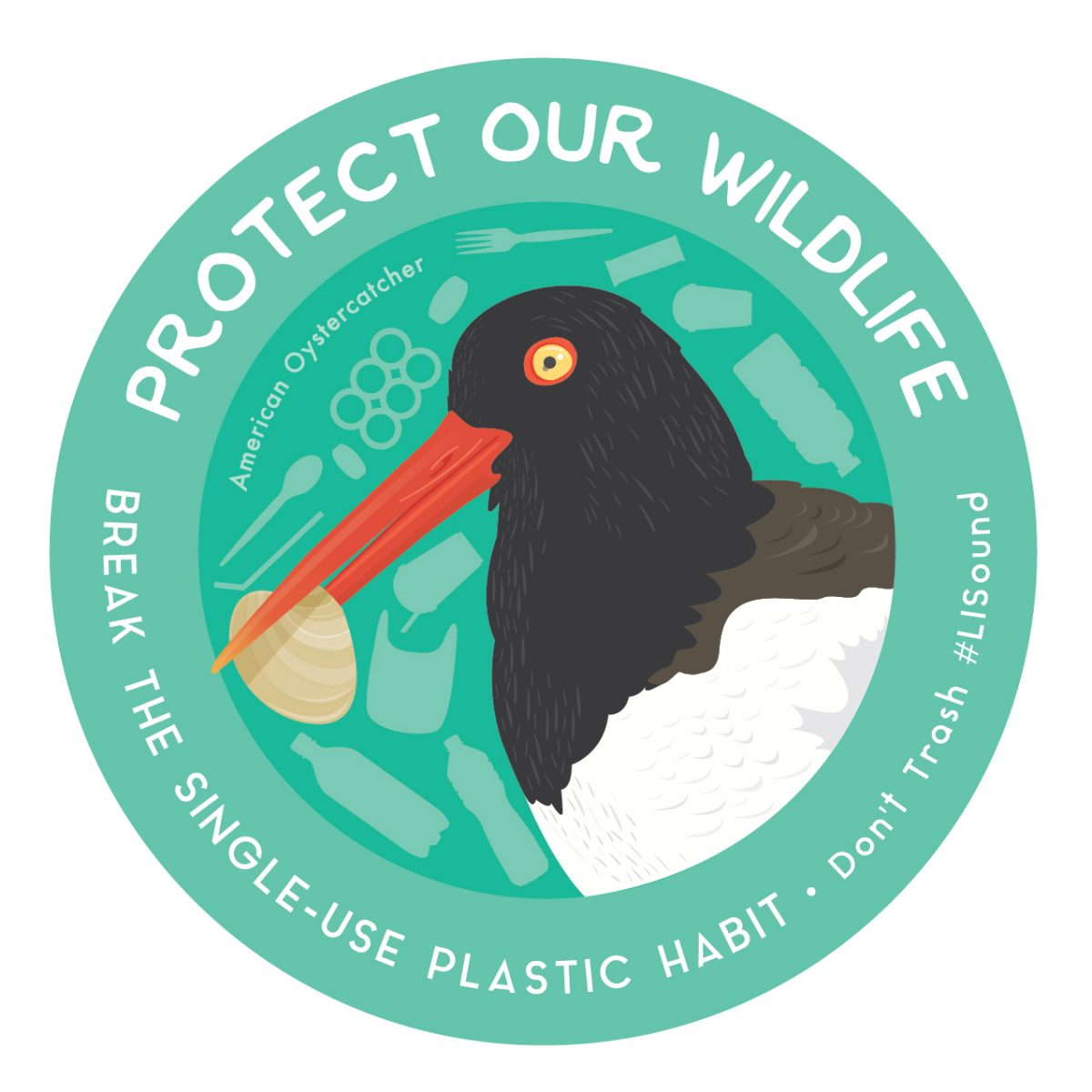 Protect Our Wildlife sticker with oystercatcher